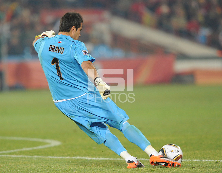 Chile goalkeeper Claudio Bravo.Spain won Group H following a 2-1 defeat of Chile in Pretoria's Loftus Versfeld Stadium, Friday, June 25th, at the 2010 FIFA World Cup in South Africa..