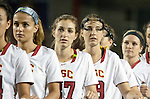 Costa Mesa, CA 02/20/16 - USC Trojans listen to the national anthem before the start of their game against Duke.