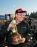 Nov 11, 2018; Pomona, CA, USA; NHRA top alcohol dragster driver James Stevens celebrates after winning the Auto Club Finals at Auto Club Raceway. Mandatory Credit: Mark J. Rebilas-USA TODAY Sports