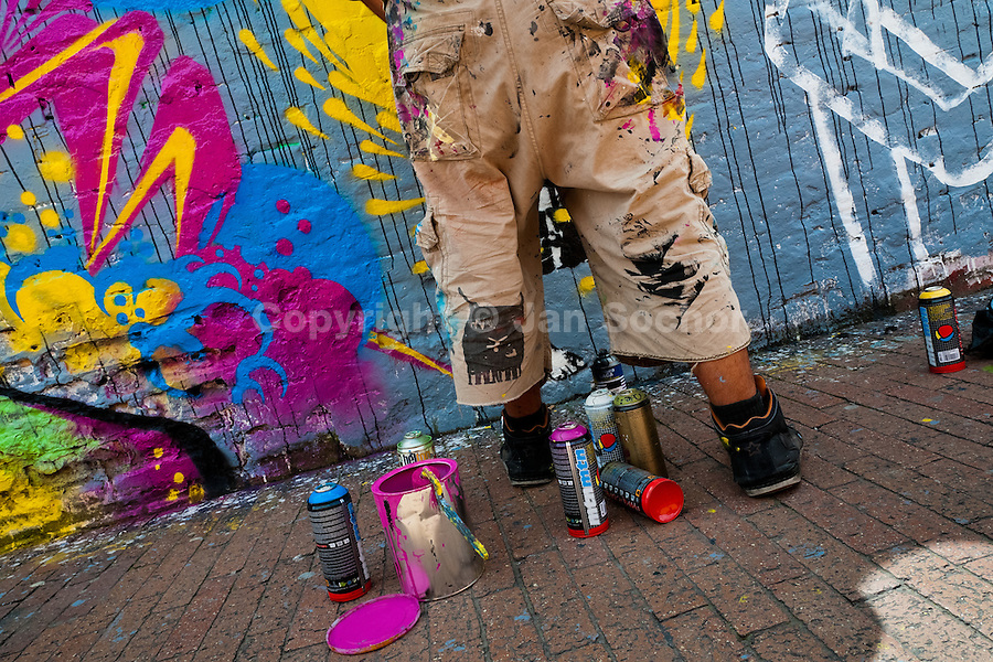 A Colombian street artist named Stinkfish paints graffiti on the wall in La Candelaria, Bogota, 10 July 2010.