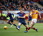 17.02.2019: Motherwell v Hearts: Jake Hastie beats Christophe Berra but his effort is saved