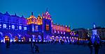 Iluminacja Sukiennic z okazji otwarcia podziemi Rynku Głównego w Krakowie.<br /> Cloth Hall on the Market Square in Cracow by night, Poland