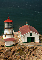 Point Reyes Light Station sits on a rock outcropping along the Pacific Ocean in Marin County, California