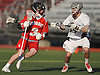 Macaire O'Keefe #3 of Syosset, left, gets pressured by Doug Mongiardo #44 of Garden City during a non-league varsity boys lacrosse game at Garden City High School on Tuesday, Mar. 22, 2016. O'Keefe recorded a goal and three assists in Syosset's 6-3 win.