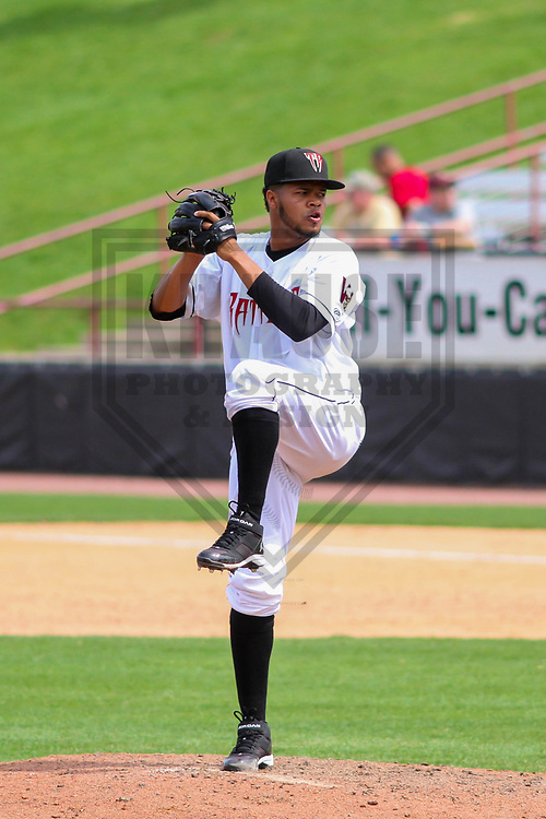 Wisconsin Timber Rattlers pitcher Rodrigo Benoit (35) during a Midwest League game against the Lansing Lugnuts on May 8th, 2018 at Fox Cities Stadium in Appleton, Wisconsin. Lansing defeated Wisconsin 11-4. (Brad Krause/Krause Sports Photography)