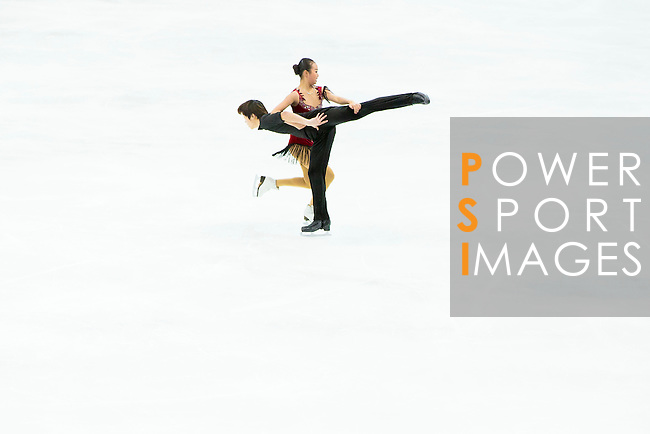 TAIPEI, TAIWAN - JANUARY 23:  Yue Zhao and Chang Liu of China perform their routine at the Ice Dance Free Dance event at the Ice Dance Free Dance event during the Four Continents Figure Skating Championships on January 23, 2014 in Taipei, Taiwan.  Photo by Victor Fraile / Power Sport Images *** Local Caption *** Yue Zhao; Chang Liu