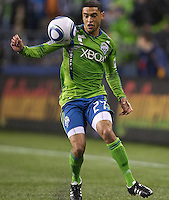 Seattle Sounders FC forward Lamar Neagle gets control of the ball during play against the L.A. Galaxy at Qwest Field in Seattle Tuesday March 15, 2011. The Galaxy won the game 1-0.