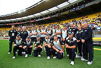 The Black Caps pose for a team photo before the match during 2nd Twenty20 cricket match match between New Zealand Black Caps and West Indies at Westpac Stadium, Wellington, New Zealand on Friday, 27 February 2009. Photo: Dave Lintott / lintottphoto.co.nz