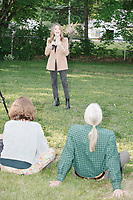 Democratic presidential candidate and spiritual guru Marianne Williamson speaks to a small crowd in the back yard of Kathleen O'Donnell at a campaign house party event in Keene, New Hampshire, on Wed., May 22, 2019.