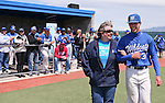 Western Nevada College's Jeremy Alderman escorts his mom onto the field for Sophomore Day festivities at John L. Harvey field, on Sunday, April 27, 2014, in Carson City, Nev.<br /> Photo by Cathleen Allison/Nevada Photo Source
