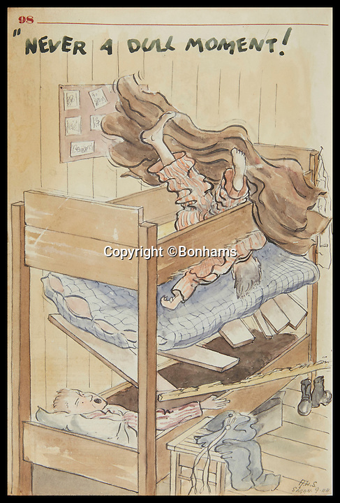 BNPS.co.uk (01202 558833)<br /> Pic: Bonhams/BNPS<br /> <br /> A prisoner falls through bunk bed after slats were removed to help build tunnel.<br /> <br /> Tell-tale illustrations of British airmen plotting the famous Great Escape drawn by a prisoner of war at huge risk have come to light.<br /> <br /> The watercolour paintings were kept in a wartime scrapbook by Flight Lieutenant Archibald Sulston, a keen artist who drew and painted life in the PoW - including obvious evidence of a tunnel being dug.<br /> <br /> The album is being sold at auction for &pound;20,000.