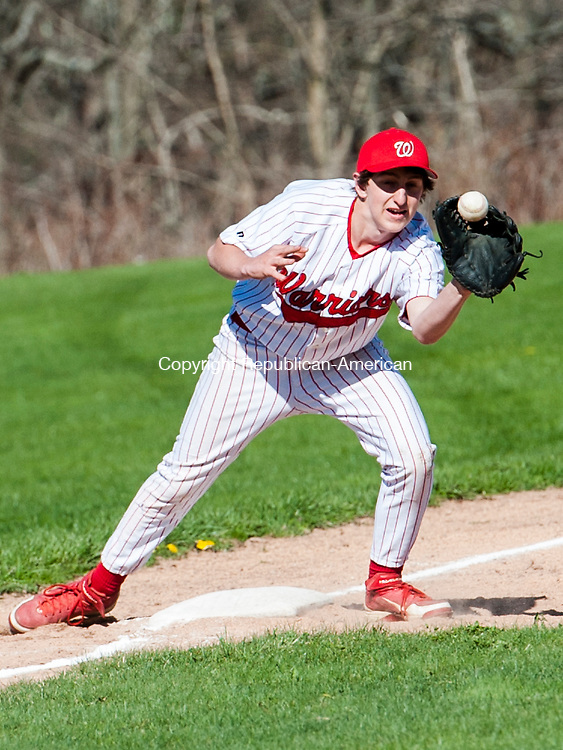 LITCHFIELD, CT-5 May 2014-050514EC02-  Action Man. Wamogo's Landon Bellmay catches a ball at third base to get a Nonnewaug player out. The Warriors won at home Monday, 9-3. Erin Covey Republican-American
