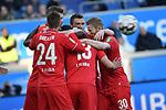 10.04.2019, Schauinsland-Reisen-Arena, Duisburg, GER, 2. FBL, MSV Duisburg vs. 1. FC Koeln,<br />  <br /> DFL regulations prohibit any use of photographs as image sequences and/or quasi-video<br /> <br /> im Bild / picture shows: <br /> Torjubel 1:1 Dominick Drexler (FC Koeln #24), Louis Schaub (FC Koeln #13),   Florian Kainz (FC Koeln #30), <br /> <br /> Foto &copy; nordphoto / Meuter