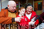 Alex Looney shows her grandparents Timmy and Nuala Looney  her project on her tablet in Holy Cross Mercy NS Killarney on Friday