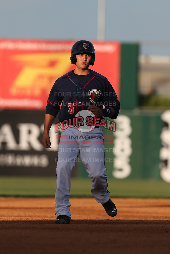 Mott Hyde (3) of the Lancaster JetHawks runs the bases during a game against the Bakersfield Blaze at The Hanger on August 5, 2015 in Lancaster, California. Bakersfield defeated Lancaster, 12-5. (Larry Goren/Four Seam Images)