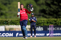 Tom Westley of Essex celebrates scoring a century of runs during Middlesex vs Essex Eagles, Royal London One-Day Cup Cricket at Radlett Cricket Club on 17th May 2018