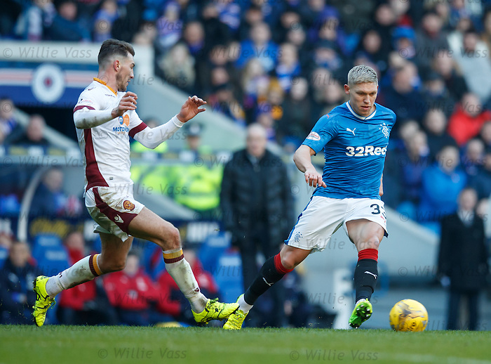 Martyn Waghorn drifts outside Craig Clay