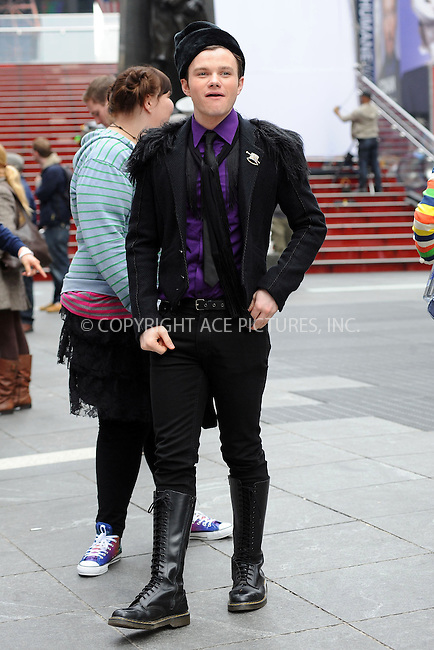 WWW.ACEPIXS.COM . . . . . ....April 25 2011, New York City....Actor Chris Colfer on the set of the hit TV show 'Glee' in Times Square on April 25 2011 in New York City....Please byline: KRISTIN CALLAHAN - ACEPIXS.COM.. . . . . . ..Ace Pictures, Inc:  ..(212) 243-8787 or (646) 679 0430..e-mail: picturedesk@acepixs.com..web: http://www.acepixs.com