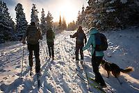 Cross-country skiers explore Ross Pass in the Bridger Mountains near Bozeman, Montana.