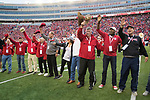"""Wisconsin Badgers Camp Randall 100 honorees sing """"Varsity"""" during an NCAA College Football Big Ten Conference game against the Purdue Boilermakers Saturday, October 14, 2017, in Madison, Wis. The Badgers won 17-9. (Photo by David Stluka)"""
