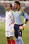21 June 2007:  Mexico's Oswaldo Sanchez (1) and Cuauhtemoc Blanco (10). The National Team of Mexico defeated Guadeloupe 1-0  in a CONCACAF Gold Cup Semifinal match at Soldier Field in Chicago, Illinois.