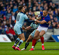 8th March 2020; Murrayfield Stadium, Edinburgh, Scotland; International Six Nations Rugby, Scotland versus France; Gael Fickou of France is tackled by Adam Hastings of Scotland