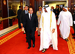 Crown Prince of Abu Dhabi Sheikh Mohammed bin Zayed al-Nahyan welcomes Egyptian President Abdel Fattah al-Sisi at the Presidential Airport in Abu Dhabi, UAE, May 3, 2017. Photo by Egyptian President Office