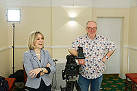 Rebecca Hayes and Guto Orwig of Sgript interview for the radio rugby legends Gareth Edwards at the Castle Hotel in Neath, Wales, UK. Thursday 15 March 2018