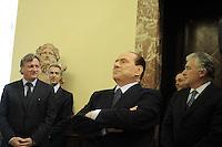 Roma 5 Ottobre 2011.Palazzo chigi.Il Presidente Silvio Berlusconi in attesa del Primo Ministro della Macedonia,Nikola Gruevski, intrattiene la stampa con una barzelletta