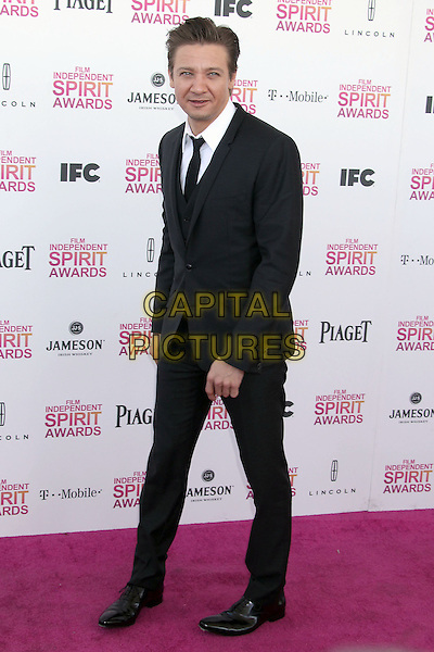 Jeremy Renner.2013 Film Independent Spirit Awards - Arrivals Held At Santa Monica Beach, Santa Monica, California, USA,.23rd February 2013..indy indie indies indys full length black white suit tie shirt .CAP/ADM/RE.©Russ Elliot/AdMedia/Capital Pictures