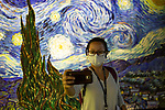People visit Meet the Vincent Van Gogh Experience as Lisbon Eases Covid19 Lockdown