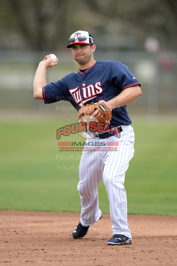 Minnesota Twins infielder Brian Dozier (2) during practice on February 25, 2014 at Hammond Stadium in Fort Myers, Florida.  (Mike Janes Photography)