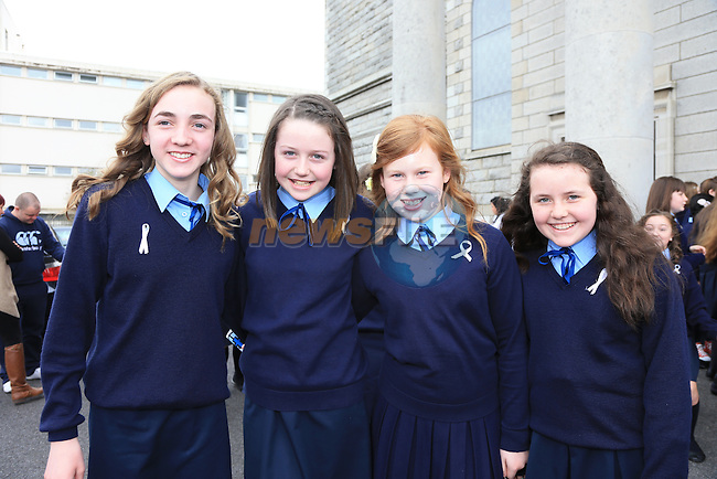 Caoimhe Brannigan, Grainne Brady, Sophie Kelly, Louisa Keller.students from Presentation National School Ballymakenny road who made there confirmation with Bishop Clifford in Our Lady of Lourdes Church..Picture: Fran Caffrey / www.newsfile.ie ..