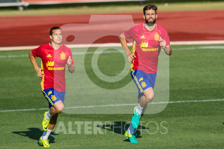 Spain's Pedro Rodriguez and Gerard Pique during the first training of the concentration of national soccer team before the Uefa Euro 2016.  Jun 4,2016. (ALTERPHOTOS/Rodrigo Jimenez)