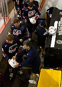Steve Castelletti (US - Equipment Manager), Kenny Ryan (US - 20), Jack Campbell (US - 1), Mac Moore (US - Assistant), Zach Budish (US - 24) - Team USA defeated Team Russia 6-0 in their final game during the 2009 USA Hockey National Junior Evaluation Camp on Saturday, August 15, 2009, in the USA (NHL-sized) Rink in Lake Placid, New York.
