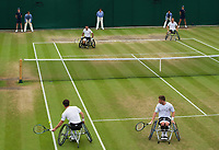 Gordon Reid (left near) and Alfie Hewett (2) in action during their Gentlemen's Wheelchair Doubles Final on Court 3 against Stephane Houdet and Nicolas Peifer (1) of France<br /> <br /> Photographer Ashley Western/CameraSport<br /> <br /> Wimbledon Lawn Tennis Championships - Day 12 - Saturday 15th July 2017 -  All England Lawn Tennis and Croquet Club - Wimbledon - London - England<br /> <br /> World Copyright &not;&copy; 2017 CameraSport. All rights reserved. 43 Linden Ave. Countesthorpe. Leicester. England. LE8 5PG - Tel: +44 (0) 116 277 4147 - admin@camerasport.com - www.camerasport.com
