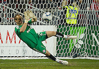 28 April 2010: Toronto FC goalkeeper Stefan Frei #24 makes diving save during a Nutrilite Canadian Championship game between the Montreal Impact and Toronto FC at BMO Field in Toronto..Toronto FC won 2-0.....