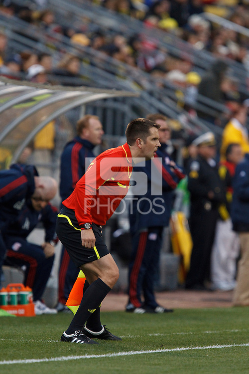 8 MAY 2010:  Assistant Referee Jason Cullum during MLS soccer game between New England Revolution vs Columbus Crew at Crew Stadium in Columbus, Ohio on May 8, 2010.