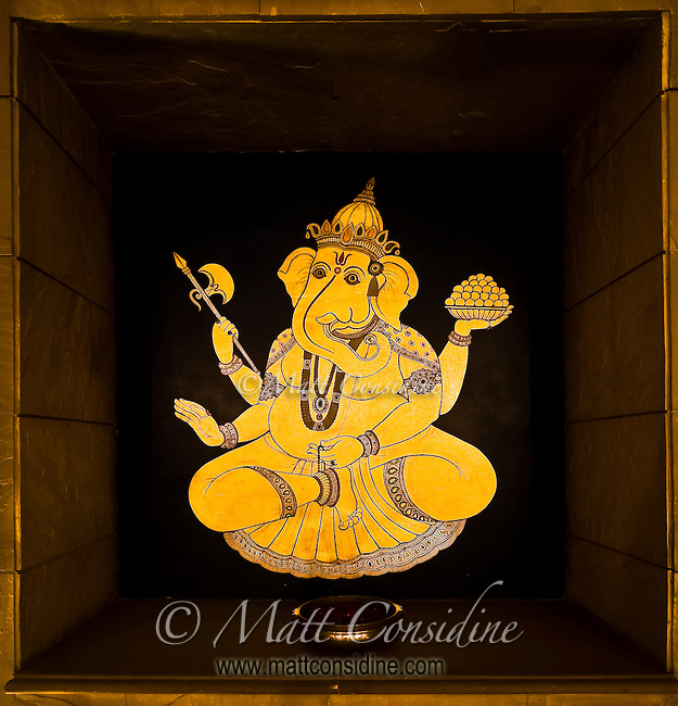 Decorative artwork of deity Ganesh at the Hotel Oberoi Amarvilas.<br /> (Photo by Matt Considine - Images of Asia Collection)