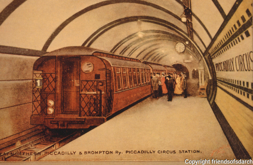 London:  London Underground Postcard, c. 1907.  Piccadilly Circus Station Platform with original gate stock car.