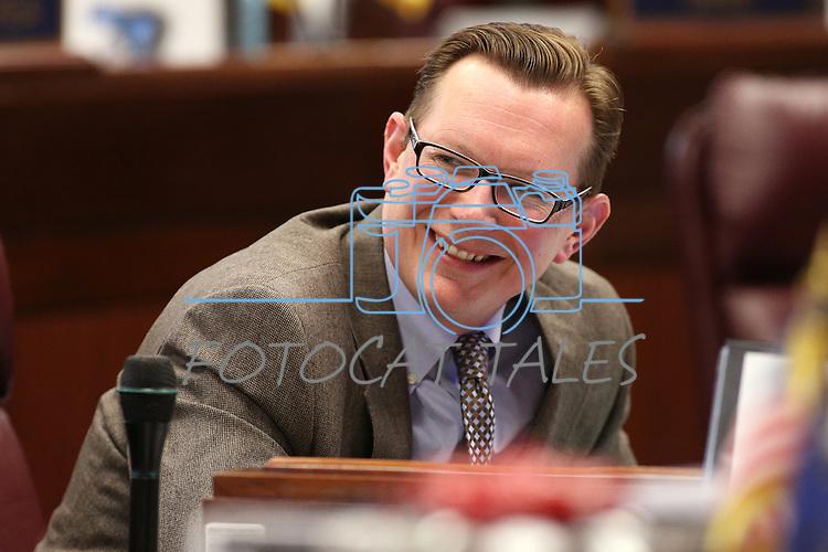 Nevada Sen. Ben Kieckhefer, R-Reno, talks on the Senate floor at the Legislative Building in Carson City, Nev., on Tuesday, April 7, 2015. <br /> Photo by Cathleen Allison