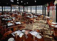 Captains Table Restaurant, Wildwood NJ. 1960's Interior of the restaurant with an ocean view.