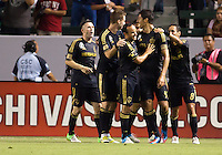 CARSON, California - August 12, 2012: The LA Galaxy  defeated the Chivas USA 4-0 during a Major League Soccer (MLS) game at Home Depot Center stadium.