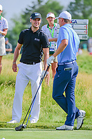 Jordan Spieth (USA) and Martin Kaymer (DEU) share a laugh on the 12th tee box during Thursday's round 1 of the 117th U.S. Open, at Erin Hills, Erin, Wisconsin. 6/15/2017.<br /> Picture: Golffile | Ken Murray<br /> <br /> <br /> All photo usage must carry mandatory copyright credit (&copy; Golffile | Ken Murray)