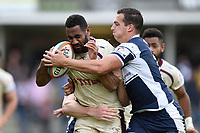 Andy Bulumakau of Doncaster Knights is tackled in possession. Greene King IPA Championship match, between Yorkshire Carnegie and Doncaster Knights on September 17, 2017 at Headingley Stadium in Leeds, England. Photo by: Patrick Khachfe / Onside Images