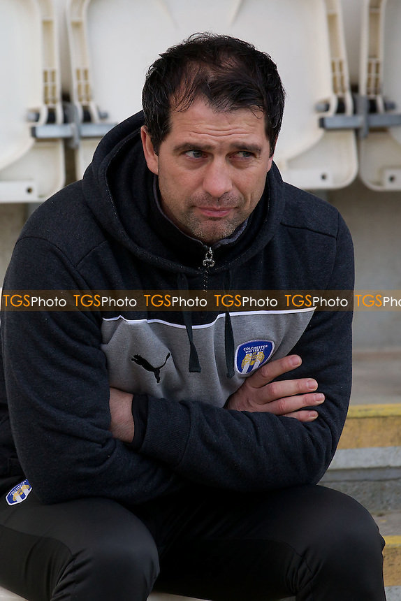 Joe Dunne, Manager, Colchester United FC looks anxious pre match - Colchester United vs Scunthorpe United - NPower League One Football at the Weston Homes Community Stadium - 12/01/13 - MANDATORY CREDIT: Ray Lawrence/TGSPHOTO - Self billing applies where appropriate - 0845 094 6026 - contact@tgsphoto.co.uk - NO UNPAID USE.