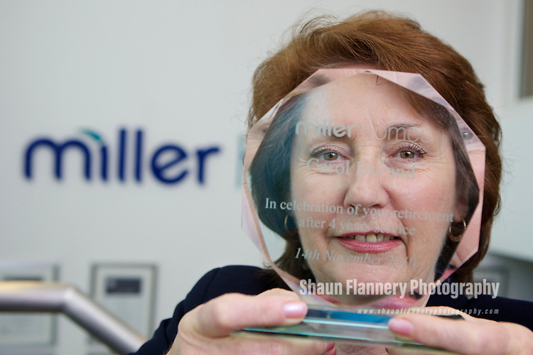 Pix: Shaun Flannery/shaunflanneryphotography.com...COPYRIGHT PICTURE>>SHAUN FLANNERY>01302-570814>>07778315553>>..26th October 2010...............Miller Homes Yorkshire..Retiring sales adviser Carol Durand.