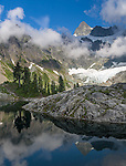 North Cascades National Park, WA<br /> Mt Shuksan with hanging glaciers with reflections on Lake Ann