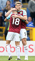 Burnley's Ashley Westwood (left) and James Tarkowski celebrate at the final whistle<br /> <br /> Photographer Rich Linley/CameraSport<br /> <br /> The Premier League - Saturday 13th April 2019 - Burnley v Cardiff City - Turf Moor - Burnley<br /> <br /> World Copyright © 2019 CameraSport. All rights reserved. 43 Linden Ave. Countesthorpe. Leicester. England. LE8 5PG - Tel: +44 (0) 116 277 4147 - admin@camerasport.com - www.camerasport.com