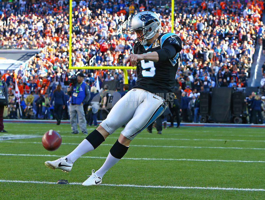Feb 7, 2016; Santa Clara, CA, USA; Carolina Panthers kicker Graham Gano (9) against the Denver Broncos during Super Bowl 50 at Levi's Stadium. Mandatory Credit: Mark J. Rebilas-USA TODAY Sports
